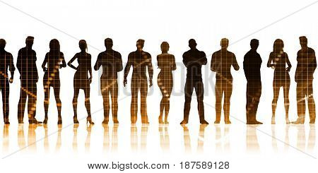 Business Team Standing in a Row Business Concept 3D Illustration Render