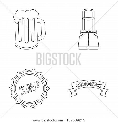 Shorts with suspenders, a glass of beer, a sign, an emblem. Oktoberfestset collection icons in monochrome style vector symbol stock illustration .