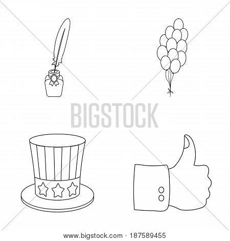 Balloons, inkwell with a pen, Uncle Sam s hat. The patriot s day set collection icons in outline style vector symbol stock illustration .