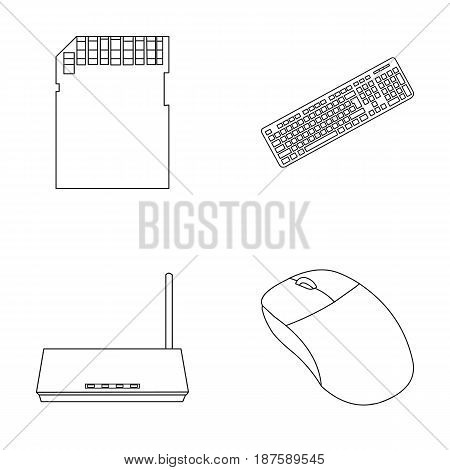 Router, computer mouse and other accessories. Personal computer set collection icons in outline style vector symbol stock illustration .