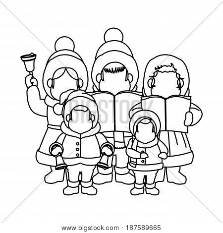 group of people chorus singing christmas songs. vector illustration