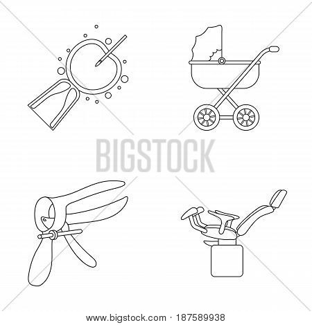 Artificial insemination, baby carriage, instrument, gynecological chair. Pregnancy set collection icons in outline style vector symbol stock illustration flat.
