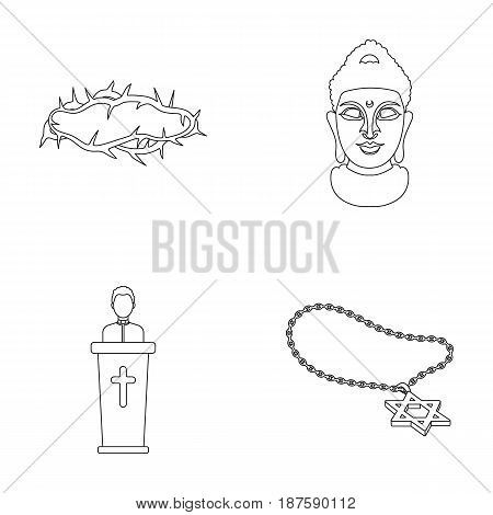 A crown of thorns, a star of David, a priest, a buddha s head. Religion set collection icons in outline style vector symbol stock illustration .