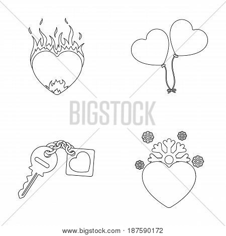 Hot heart, balloons, a key with a charm, a cold heart. Romantic set collection icons in outline style vector symbol stock illustration .