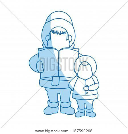 cartoon man and son choir singing for christmas vector illustration