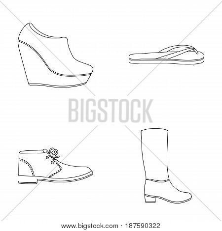 Autumn black shoes on a high platform, flip-flops green for relaxation, sandy men s autumn shoes, high brown boots. Shoes set collection icons in outline style vector symbol stock illustration .