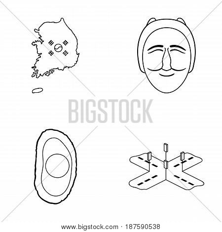A map of the state with a flag, a Korean mask, a national egg meal, a crossroads with traffic lights. South Korea set collection icons in outline style vector symbol stock illustration .