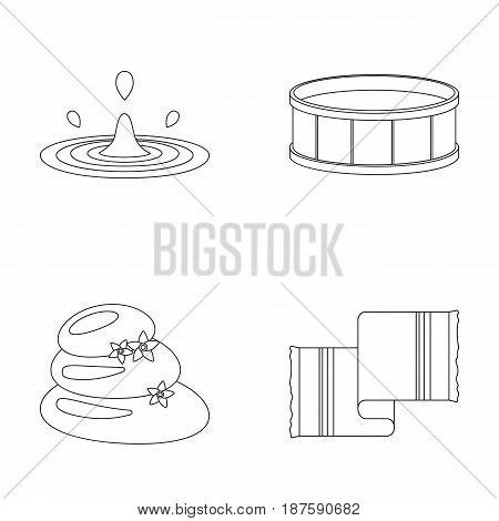 Drops of water, pool or basin with hot water, spa stones with lotus flowers, towel for the pool. Spa set collection icons in outline style vector symbol stock illustration .