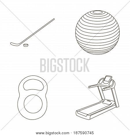 Hockey stick with puck, ball, weight, treadmill. Sport set collection icons in outline style vector symbol stock illustration .