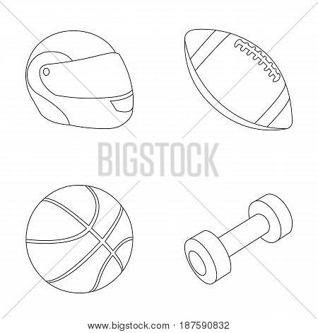 Red protective helmet, rugby ball, basketball ball, dumbbells. Sport set collection icons in outline style vector symbol stock illustration .