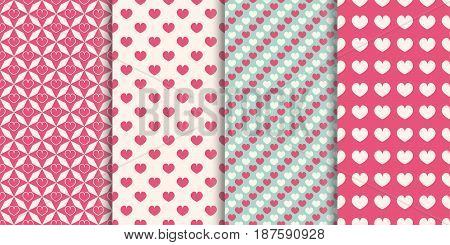 Heart seamless pattern background. Set of different patterns for wrapper holiday prints wallpaper scrapbook wedding baby birthday. Vector