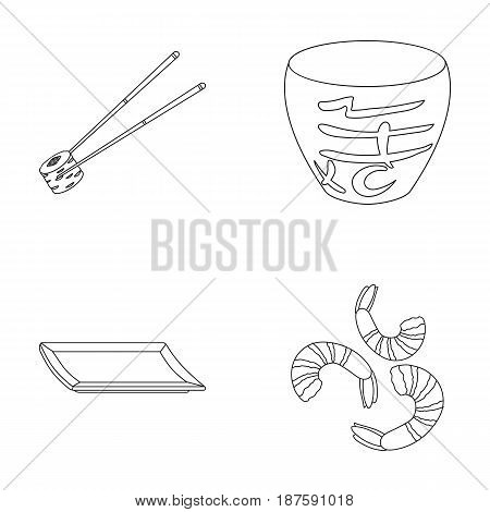 Sticks, shrimp, substrate, bowl.Sushi set collection icons in monochrome style vector symbol stock illustration .