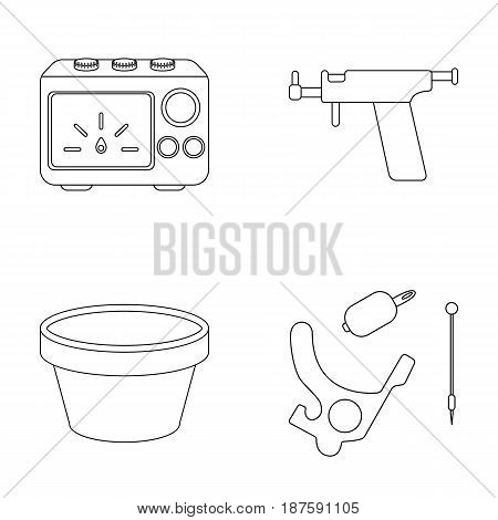 Ink, piercing machine and other equipment. Tattoo set collection icons in outline style vector symbol stock illustration .