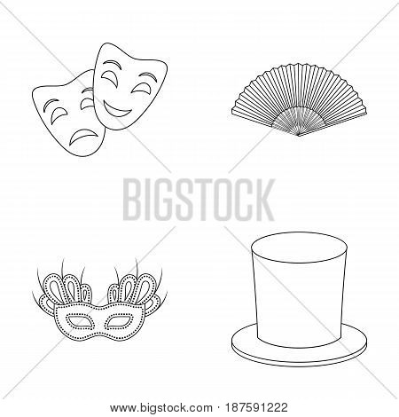 Theatrical mask, cylinder, fan, mask on the eyes. Theater set collection icons in outline style vector symbol stock illustration .