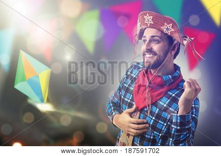 Brazilian man wearing traditional costume for Junina Party