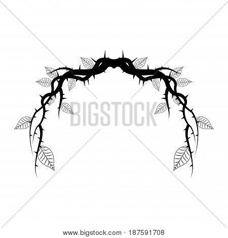 vintage branch thorns leaves decoration rustic vector illustration