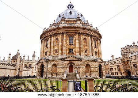 OXFORD/ UK- OCTOBER 26 2016: Exterior Of Radcliffe Camera Building In Oxford