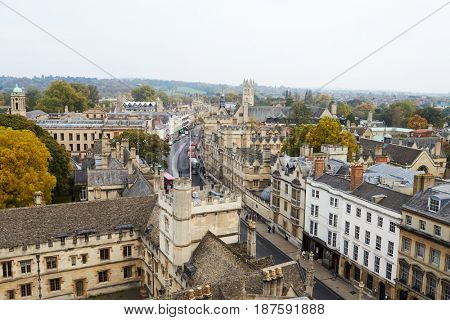 OXFORD/ UK- OCTOBER 26 2016: Aerial View Of Oxford City Showing College Buildings And Spires