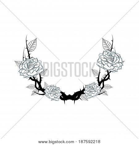 vintage branch thorns flower leaves decoration rustic vector illustration