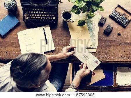 Man with Retro Typewriter Machine Work Writer