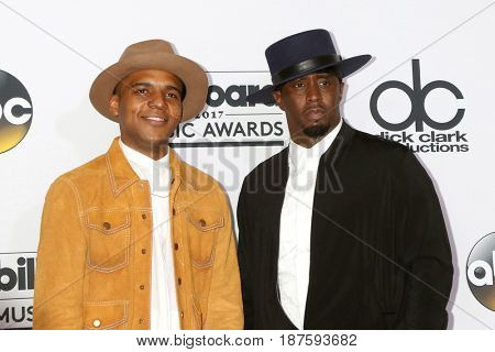 LAS VEGAS - MAY 21:  Christopher Jordan Wallace, Sean Combs at the 2017 Billboard Awards Press Room at the T-Mobile Arena on May 21, 2017 in Las Vegas, NV