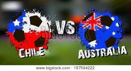 Banner Football Match Chile Vs Australia