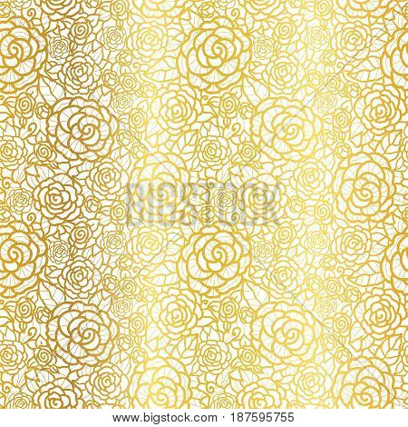 Vector golden lace roses seamless repeat pattern background. Great for wedding or bridal shower decor, invitations, gifts. Surface pattern design.