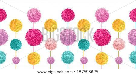 Vector Fun Colorful Birthday Party Pom Poms On Strings Set Horizontal Seamless Repeat Border Pattern. Great for handmade cards, invitations, wallpaper, packaging, nursery designs. Surface pattern design.