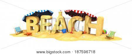 BEACH - word of sand. 3d illustration