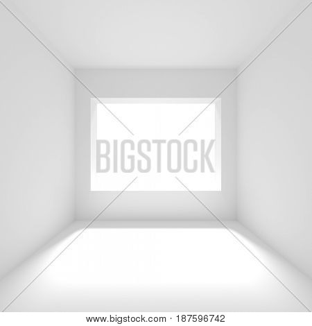 Empty Room with Window. Modern Interior Design. White Hall Concept. 3d Rendering