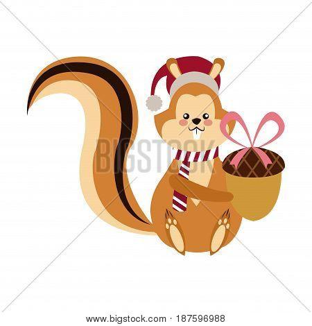 cute squirrel with acorn christmas hat cartoon vector illustration