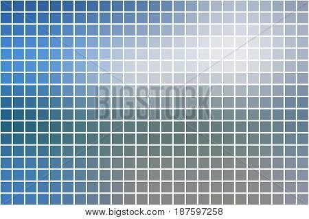 White Blue Shades Square Mosaic Background Over White