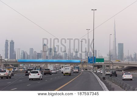 DUBAI UAE 30 January 2017 Traffic jam at Sheikh Zayed Road in Dubai United Arab Emirates
