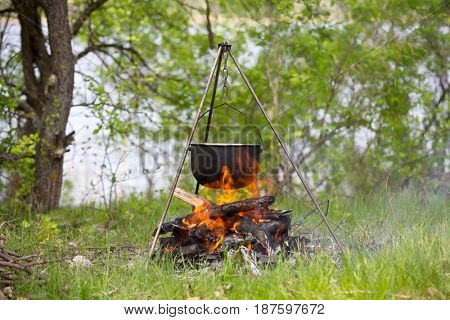Campfire and smoked kettle on meadow