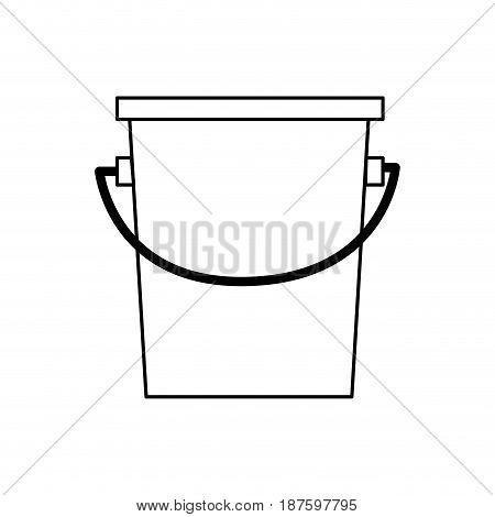 bucket fishing equipment object outline vector illustration