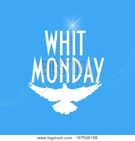 Illustration with a pigeon or dove silhouette for christian community holiday: Whit Monday or Pentecost Monday also known as Monday of the Holy Spirit.