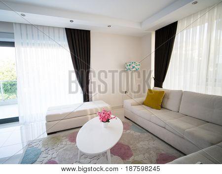 Empty hotel living room