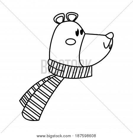 christmas bear with scarf celebration vector illustration