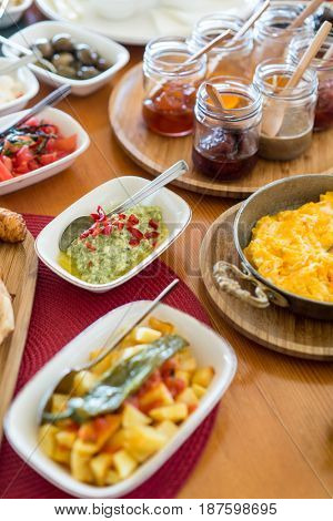 Luxury food wedding table in hotel or restaurant