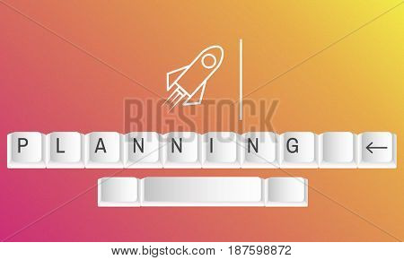 Illustration of rocket launch startup new business