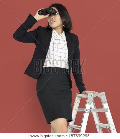 Asian Business Woman Ladder Binoculars