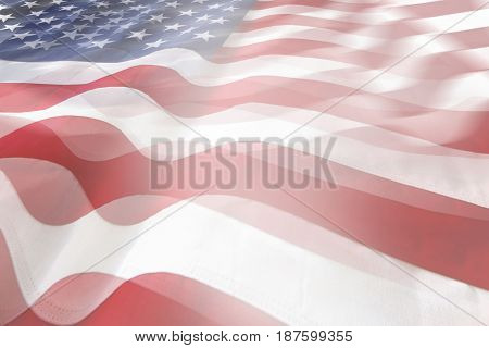 Abstract wavy USA flags. Stars and stripes