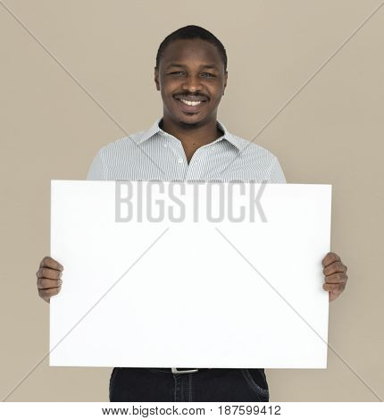African Man Smiling Happiness Banner Copy Space Studio Portrait