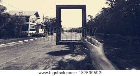 Hands Holding Photo Frame Outdoors Ideas
