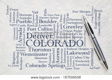 major cities of Colorado (with population more than 5000) word cloud - handwriting on a white lokta paper