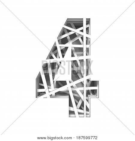 Paper Cut Out Font Number Four 4 3D