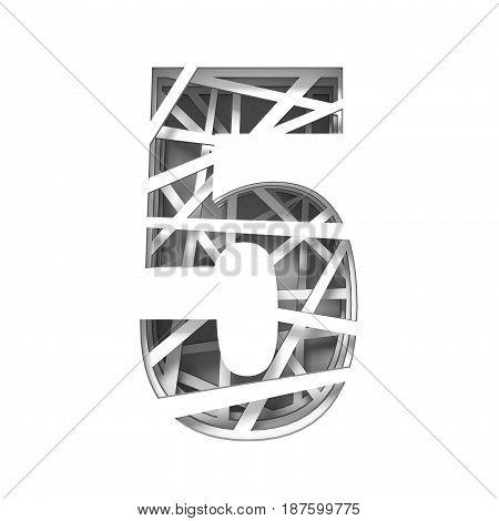 Paper Cut Out Font Number Five 5 3D