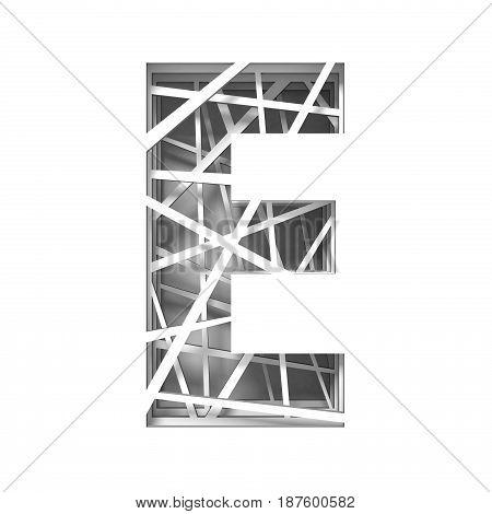 Paper Cut Out Font Letter E 3D