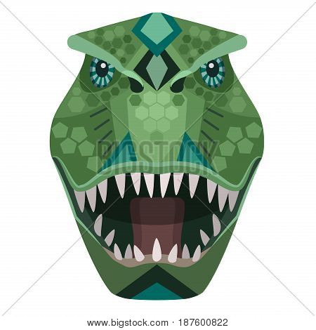 Angry t-rex raptor head Logo. Vector decorative Emblem