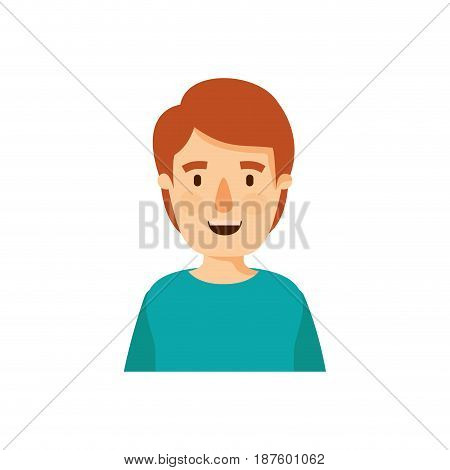 colorful caricature half body young man with hairstyle vector illustration